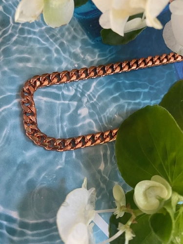 Solid Copper Anklet CA860G - 3/16 of an inch wide - Available in 8 to 12 inch lengths.