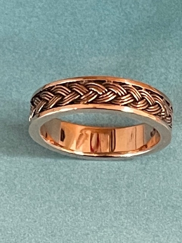 Size 8 Solid Copper Celtic Band Ring #CTR192 - 7/32 of an inch wide.
