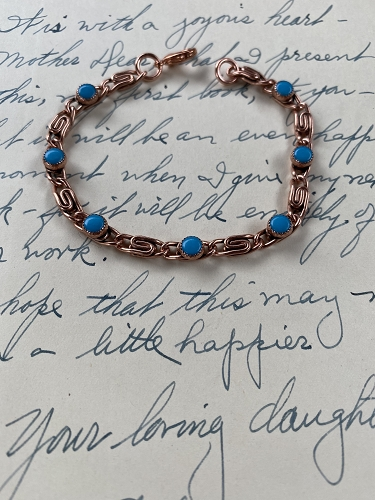 Solid Copper 7 Inch Bracelet CB442T - 3/16 of an inch wide. Simulated Turquoise.