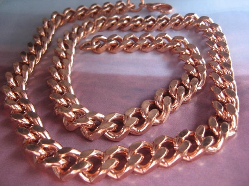 18 Inch Length Solid Copper Chain CN636G -  7/16 of an inch wide