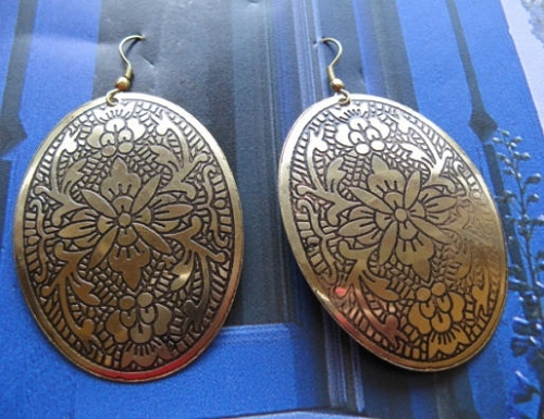 Brass Earrings  BE1 - 2  inches long.
