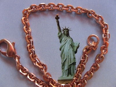 Solid Copper Anklet CA602G - 3/16 of an inch wide - Available in 8 to 12 inch lengths