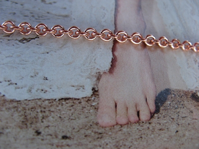 Solid Copper Anklet CA726G - 3/16 of an inch wide - Available in 8 to 12 inch lengths