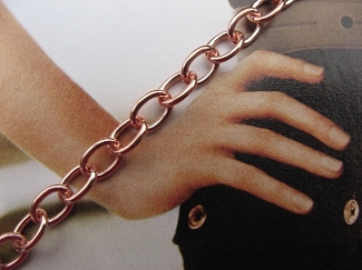 Ladies Solid Copper 7 1/2 Inch Bracelet CB722G - 3/16 of an inch wide