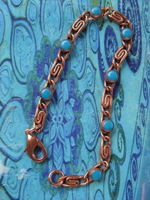 Solid Copper 7 inch Bracelet CB777T with simulated Turquoise stones - 3/16 of an inch wide