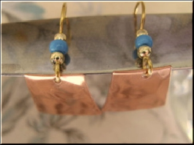 Copper Earrings #CE3151D63T - 1 1/2 inches long.