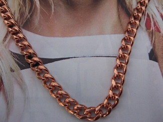 30 Inch Length Solid Copper Chain CN727G -  3/16 of an inch wide