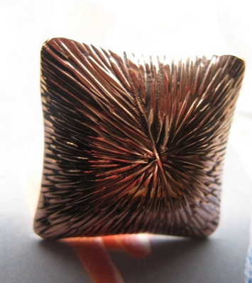 Copper  Ring CR100E - Size 8 - 1 1/8 of an inch square.