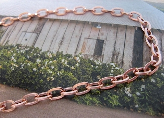 16 Inch Length Solid Copper Chain CN701G -  3/16 of an inch wide.