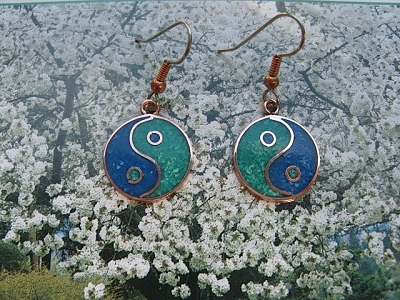 Copper Stone earrings  with  Turquoise  stones  CE278JL -  5/8 of an inch round.