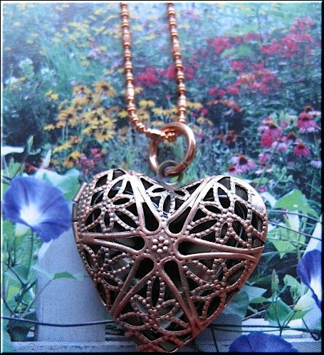 Copper plated locket and chain set CPL333