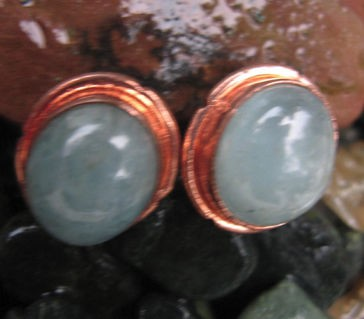 Copper Stud Earrings with Stones CE732
