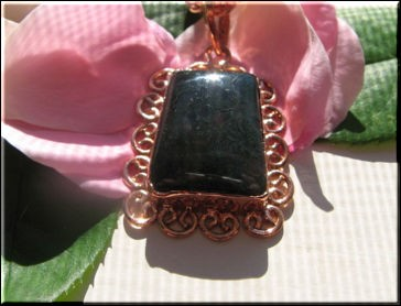 Solid Copper Agate Stone Pendant and 20 Inch Chain Set CP212