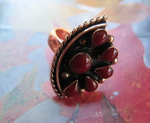 Copper Red Coral stone ring 32E -  Size 7 - 1 inch long.