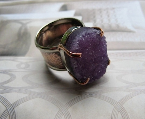 Copper and Nickel Druzy Stone Band Size 8 Ring  #CR454I - 3/4 of an inch wide.