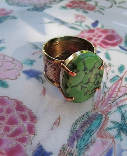 Copper and Nickel Green Turquoise Stone Band Size 8 1/2 Ring  #CR454I - 3/4 of an inch wide.