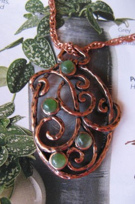 Solid Copper Stone Pendant and 18 Inch Chain Set CP2683