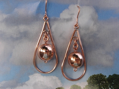 Solid Copper Earrings  CE311BB- 2 1/8 inches long.