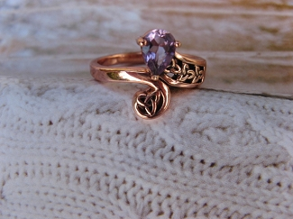 Solid Copper Celtic Amethyst  Stone Band Size 7 Ring  #CRI1285- 1/2 an inch wide.