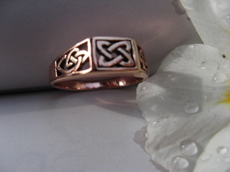 Solid copper Celtic Knot band Size 8 ring CRI1315 - 1/4 of an inch wide.