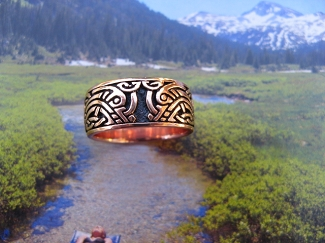 Solid copper Celtic Knot band Size 10 ring CRI1347 - 3/8 of an inch wide.