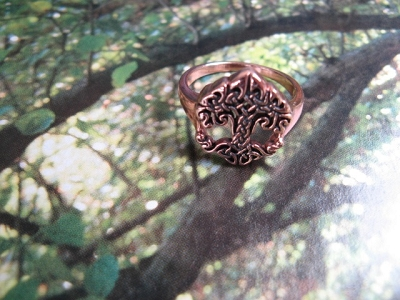 Solid Copper Celtic Tree Of Life -  Size 8 ring CRI1533-7  -5/8 of an inch wide.