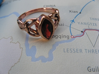 Solid Copper Celtic  Stone Band Size 6 Ring  #CTR1750 - 1/2 an inch wide.  Genuine Garnet.