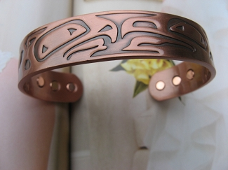 Men's 8 Inch Solid Copper Magnetic Cuff Bracelet CBM871 - 9/16 of an inch wide.