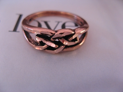 Solid copper Celtic Knot band Size 8 ring CR016 - 1/4 of an inch wide.
