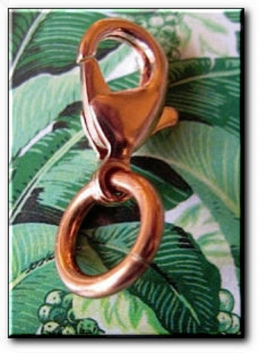 Pack of three 23mm copper lobster claw clasps.