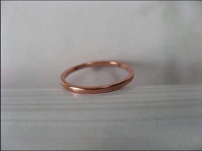 Solid Copper Band Ring CR40T - Size 4- 1.5mm wide - 1/16 of an inch wide. Our Thinnest Design