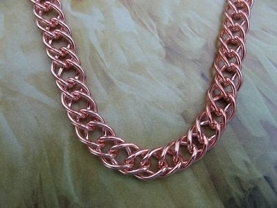 Ladies Solid Copper 8 1/2 Inch Bracelet CB642G - 7/16 of an inch wide.