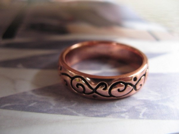 Copper Ring CTR1866 - Size 11 - 1/4 of an inch wide.