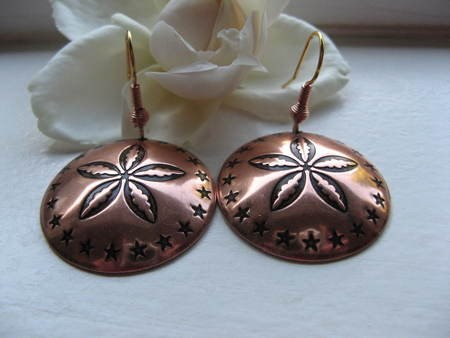 Solid Copper Earrings  CE151C2 - 1 1/4 inches round.