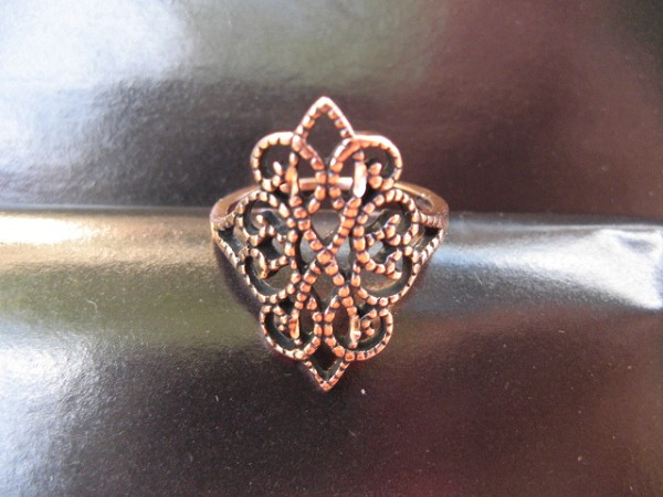 Solid copper Celtic Knot band Size 8 ring CR093 - 1 inch wide.