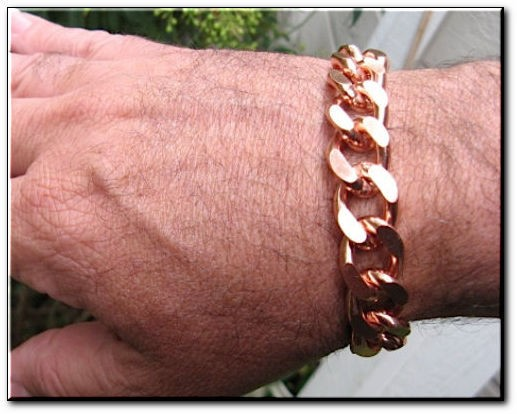 Men's 12 Inch Solid Copper Bracelet CB639G - 5/8 of an inch wide  - Our widest design.