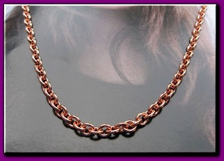 24 inch Length Solid Copper Chain CN618G - 1/8 of an inch wide