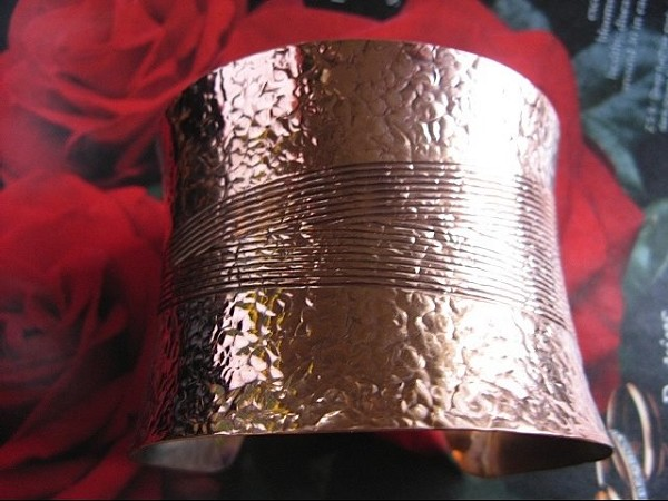 Women's 7 Inch Copper Cuff Bracelet CB97E - 2 inches wide.