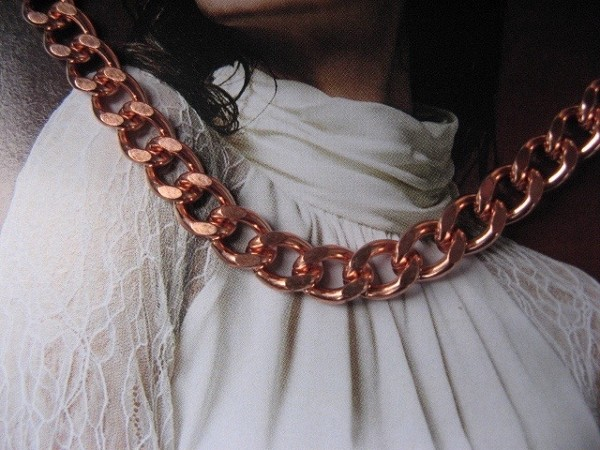 20 inch Length Solid Copper Chain CN731G - 1/4 of an inch wide