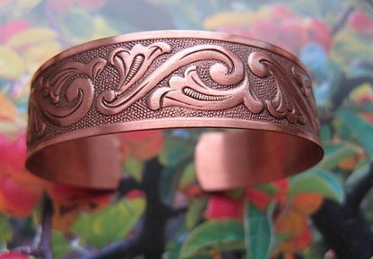 Women's 7 Inch Solid Copper Cuff Bracelet CB4643C1 - 3/8 of an inch wide.