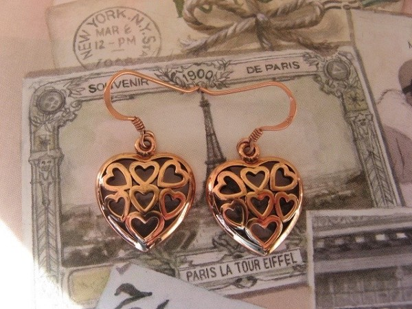 Solid Copper Earrings  CER1135 - 3/4 of an  inch long.