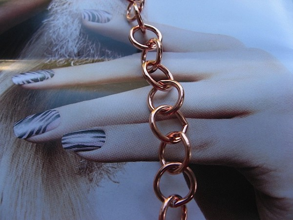 Ladies Solid Copper 8 1/2 Inch Bracelet CB629G - 3/8 of an inch wide.