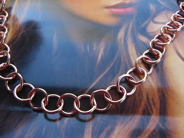 24 Inch Length Solid Copper Chain CN629G -  3/8 of an inch wide.
