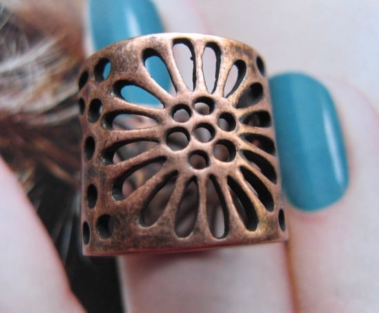Copper Ring CR2634- Size 7 - 5/8 of an inch wide.