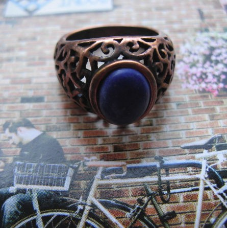 Copper Lapis  Ring CR2710 - Size 7 - 1/2 inch wide.
